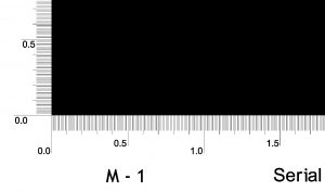 Close up of major (1.0 and 0.5 mm) and minor (0.1 mm) fiducial marks